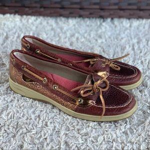 Sperry Angelfish Boat Shoe Bronze Metallic Damask Paisley Leather Moc Toe Size 8